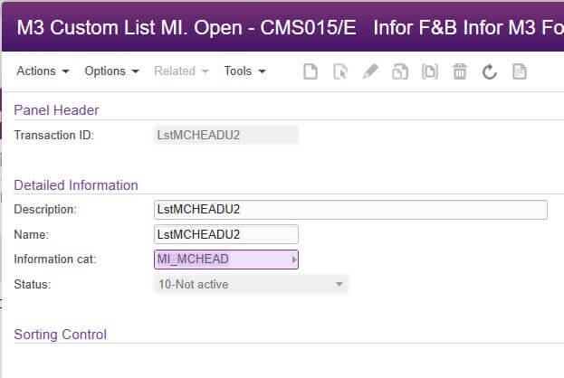 M3 custom list open