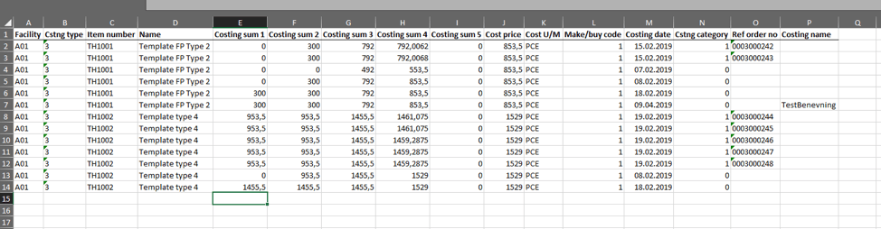 Excel Infor M3