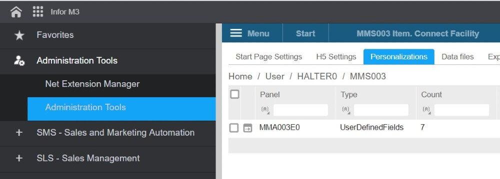 Custom fields infor M3