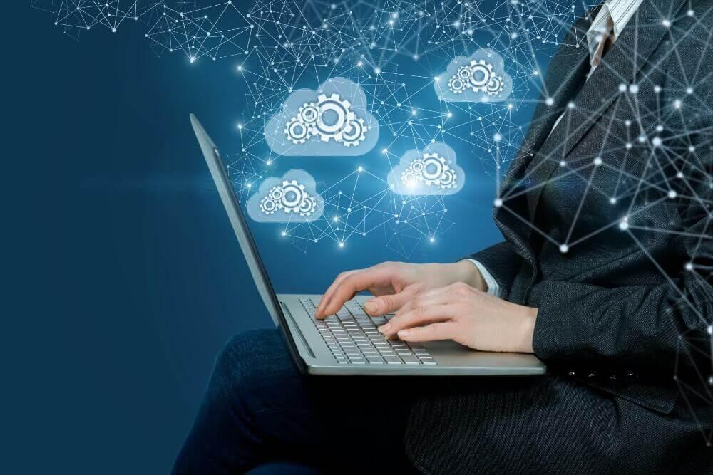 Man on computer cloud M3